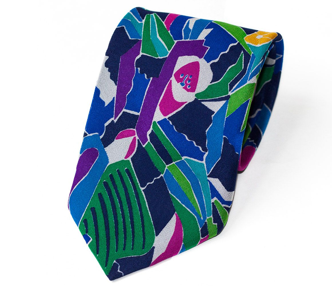 Blue and Pink Artwork Pattern Print Three-Fold Silk Tie Mess of Blues