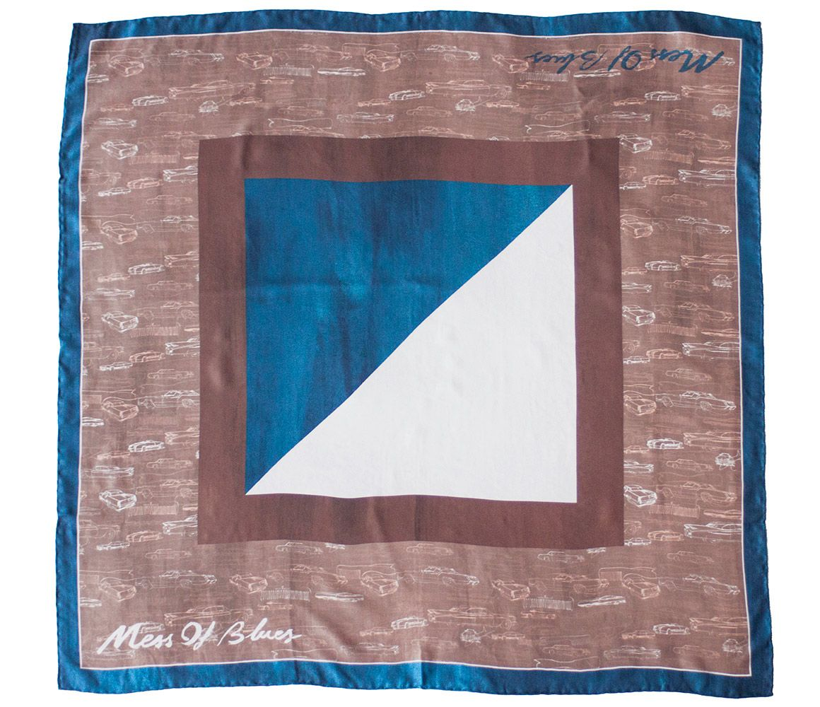 Brown, Blue and White Cars and Comb Print Silk Pocket Square Mess of Blues