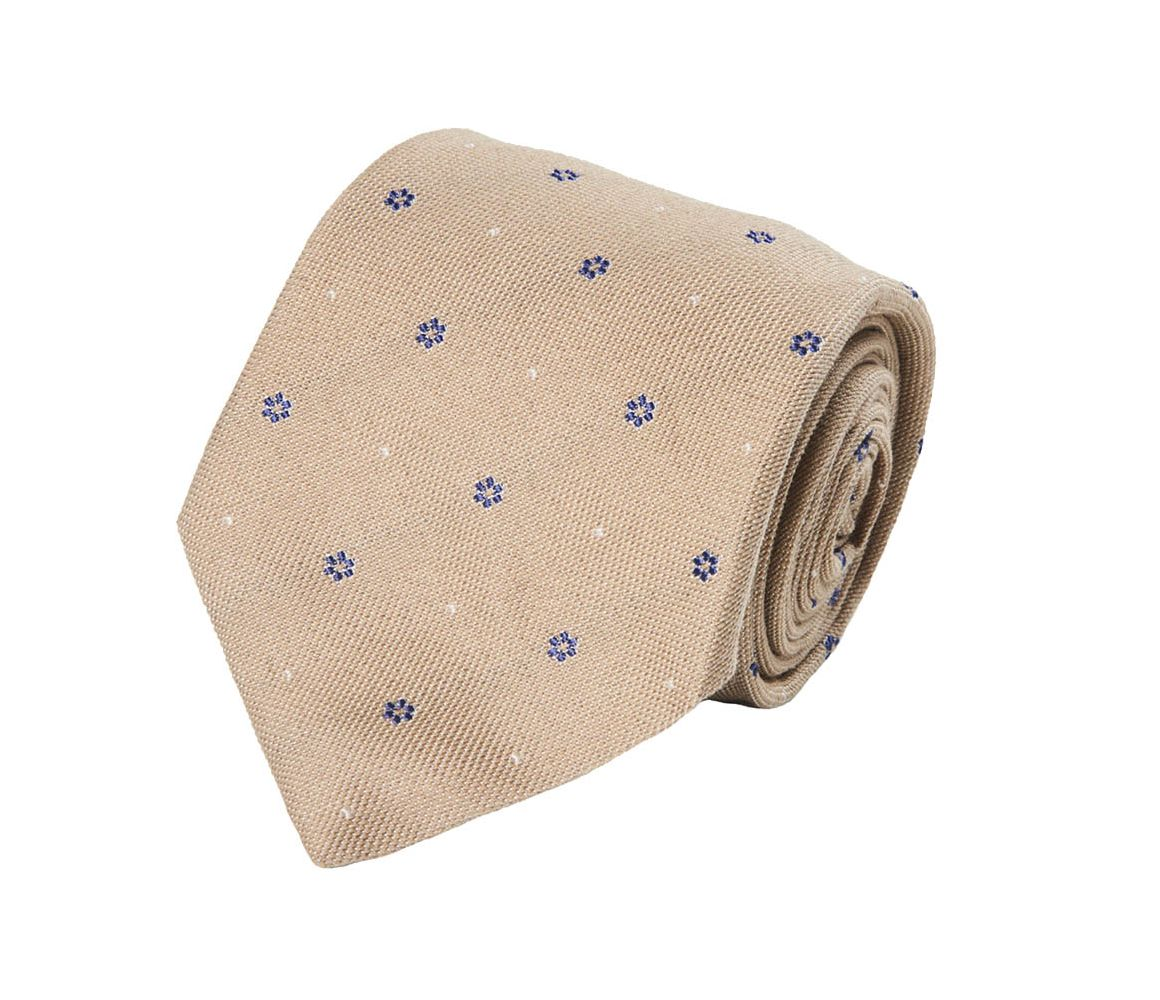 Beige and Blue Floral Silk and Cotton Tie Calabrese 1924 NSK4ZGr1kJ
