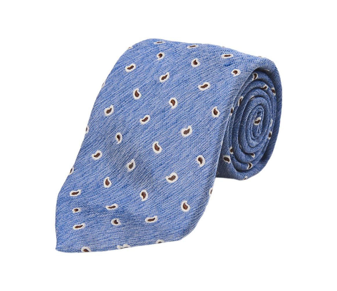 Light Blue and Brown Paisley Silk and Linen Tie Calabrese 1924 GfOahMOCZ