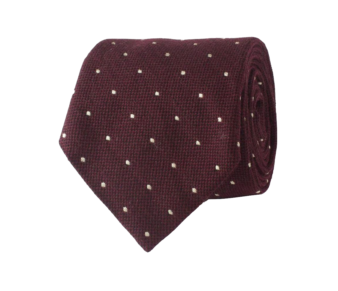 Burgundy and White Spotted Wool, Silk and Cotton Tie Edward Sexton