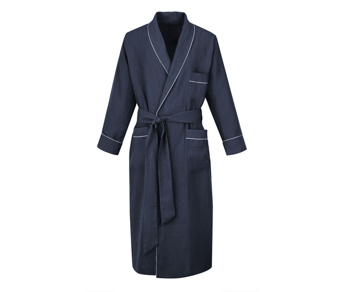 Grey Linen Dressing Gown Anderson & Sheppard NEVf0ge0