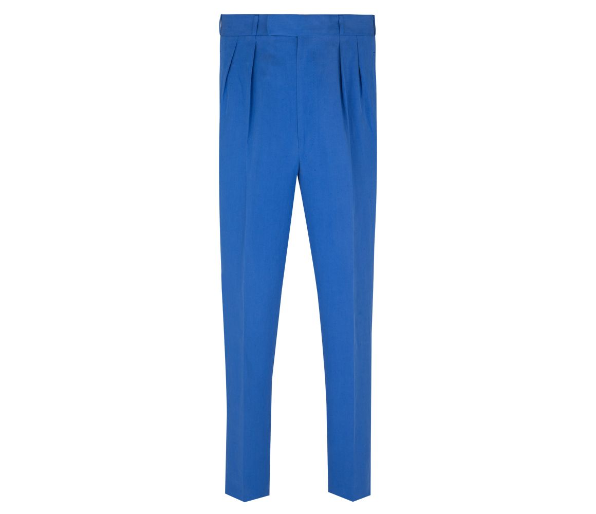Navy Linen and Silk High Waisted Trousers Anderson & Sheppard 58EvkbmiIf