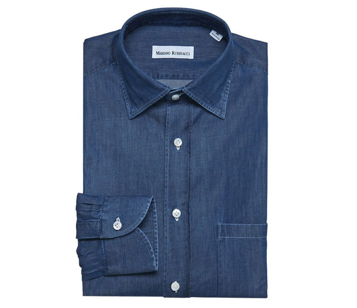 New Arrival Online Blue Denim Shirt Rubinacci Cheap Sale Store Fast Delivery Online Best Place Cheap Price Elk9W