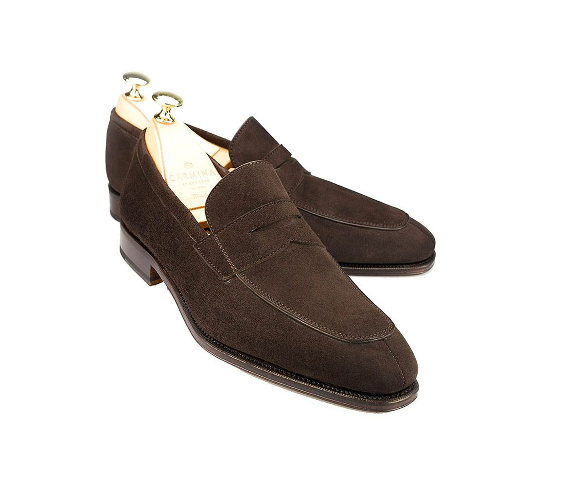 Best Sale Sale Online Brown Suede Norwegian Split Toe Penny Loafers Carmina Shoemaker Sale Online Shopping Buy Cheap 2018 Best Seller Cheap Sale Pay With Visa buBb0KLs