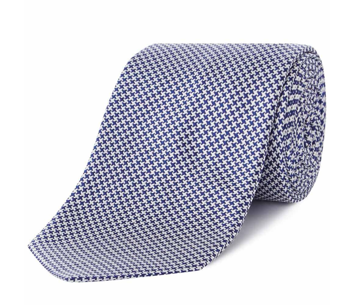 Navy Houndstooth Silk Tie Chester Barrie NRNdON