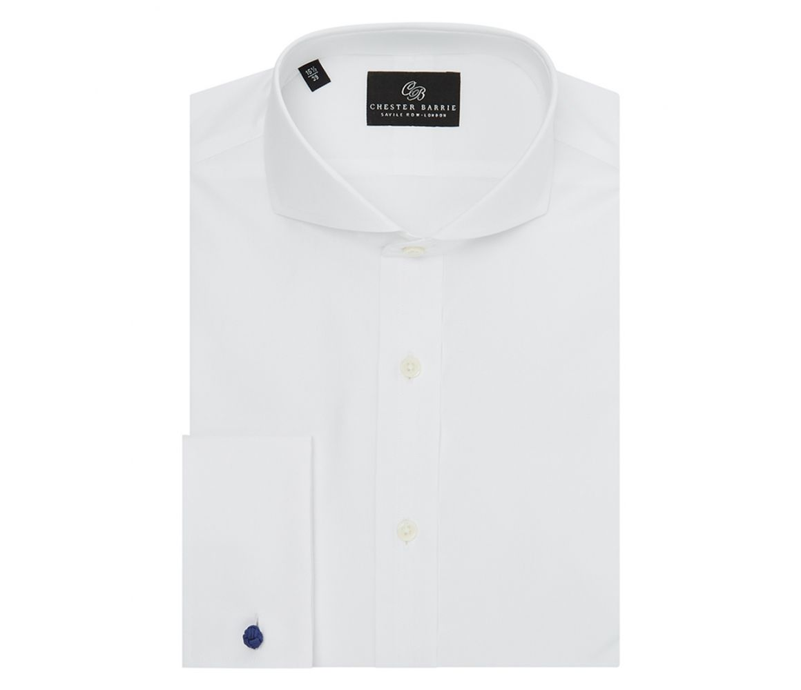 White Single Collar Double Cuff Poplin Shirt Chester Barrie Free Shipping Sale Free Shipping Inexpensive Deals Cheap Online Cheap Marketable 4aXMTgGhd