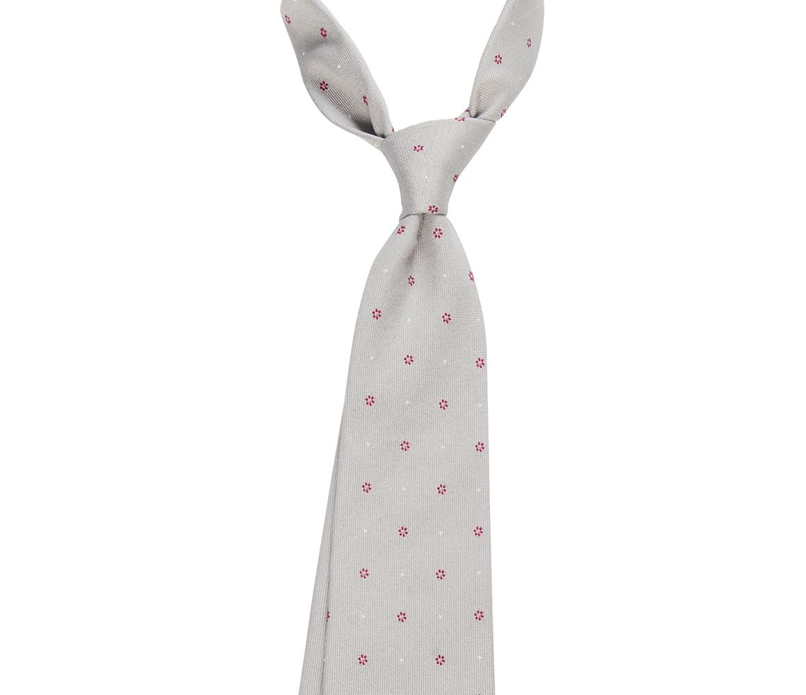 Grey and Red Floral Silk and Cotton Tie Calabrese 1924 nGPKFW
