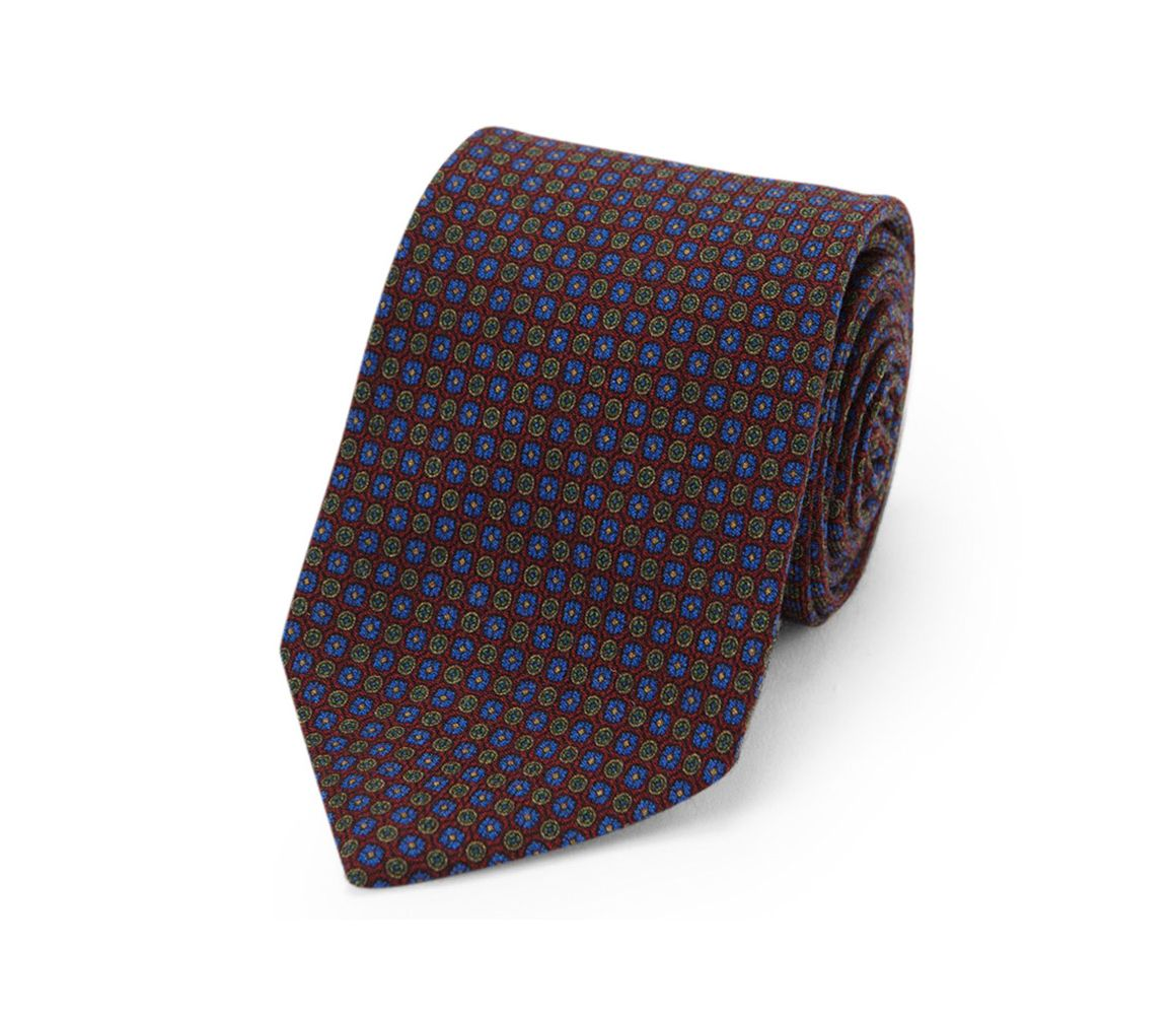 Burgundy, Green and Blue Floral Tie Motif Wool Tie Calabrese 1924