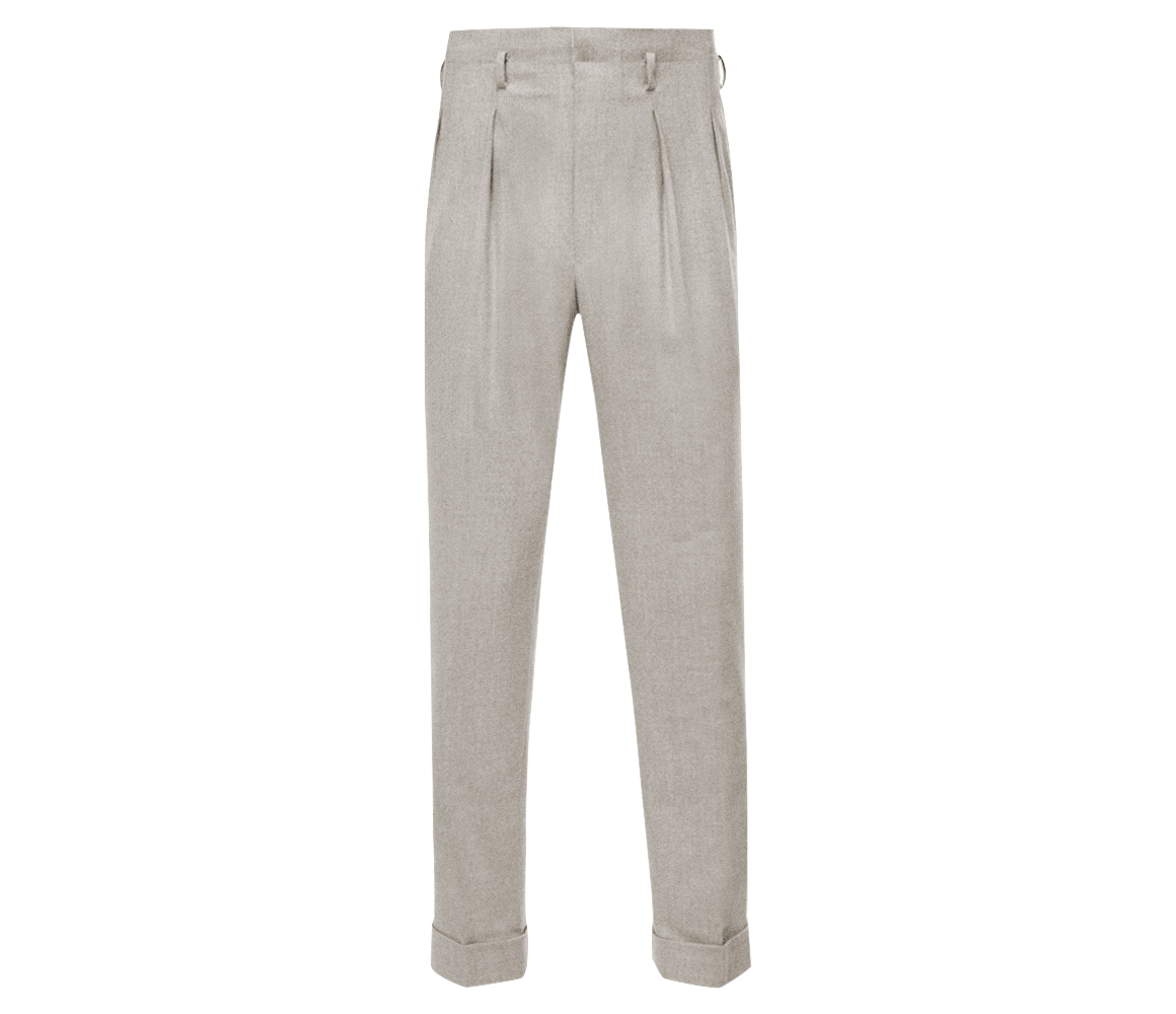 Clearance Online Fake Sale Wide Range Of Beige Hollywood Top Pleated Linen Trousers Edward Sexton LrE7tX