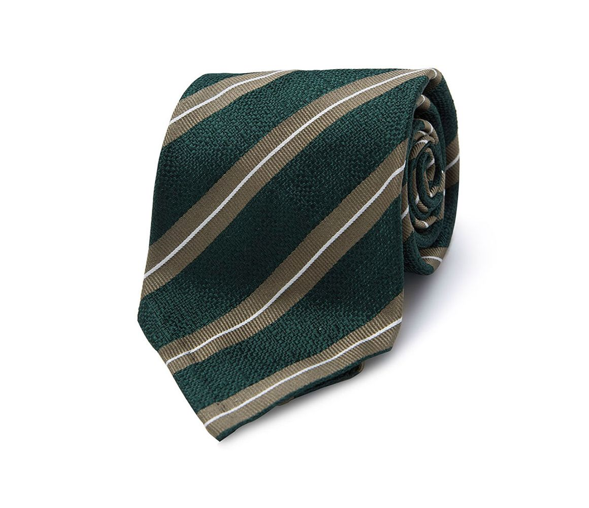 Navy and Buff Stripe Seven-Fold Silk Tie Edward Sexton hCqLO