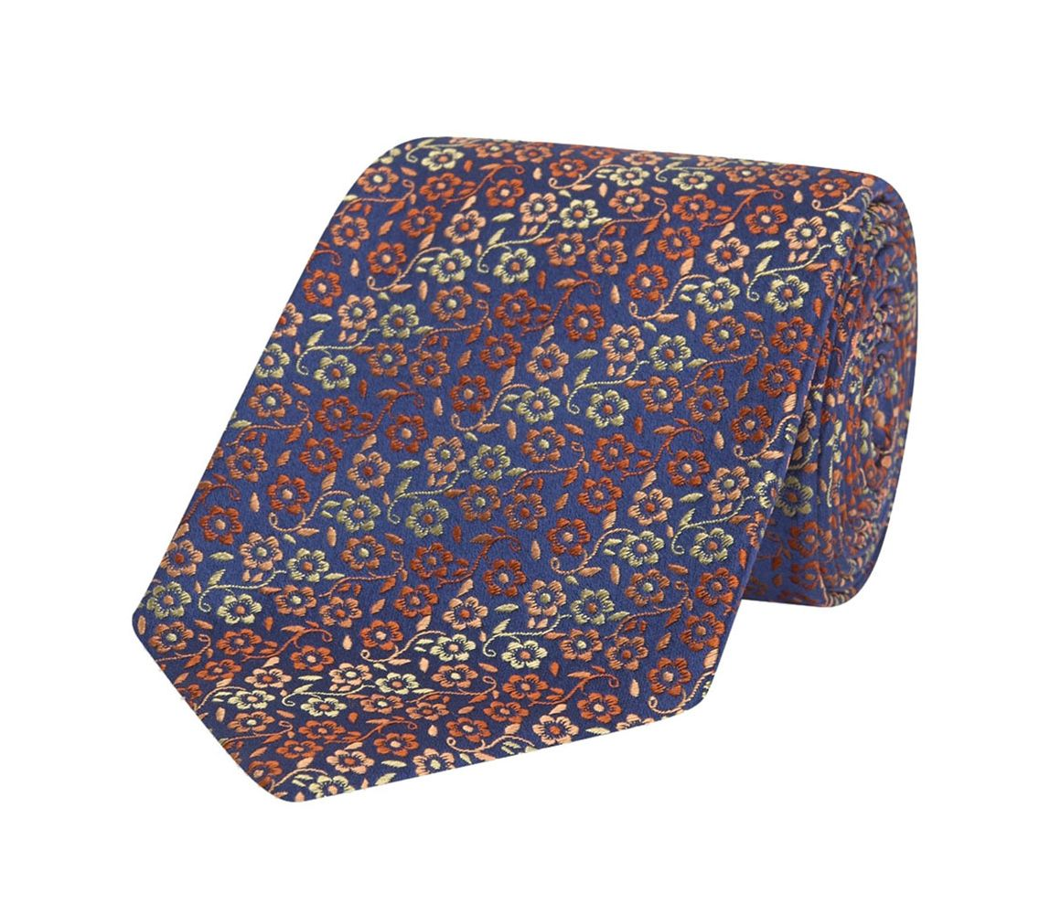 Marine Imprimé Floral Bande Rouge Et Orange Soie Cravate Turnbull & Asser YEsudkVAoL