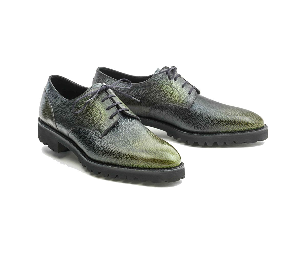 Green Patinated Pebble Grain Leather Derby Shoe Norman Vilalta OdTzX