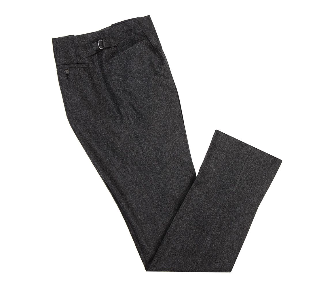Charcoal Pleated Fishtail Back Flannel Trousers Huntsman
