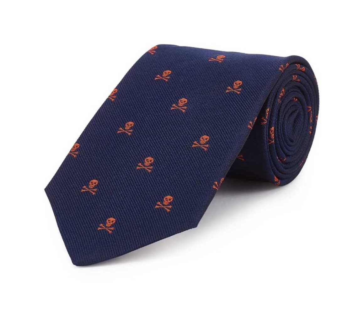Navy and Orange Skull and Crossbones Print Silk Tie New & Lingwood b4ZxT6