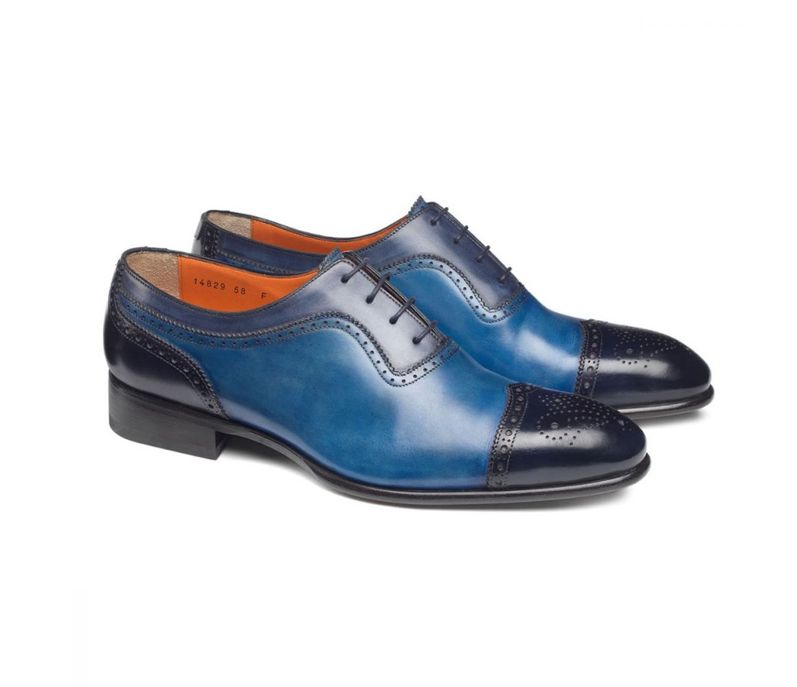 Navy and Blue Leather Calf Leather Brogues Santoni he3AHL
