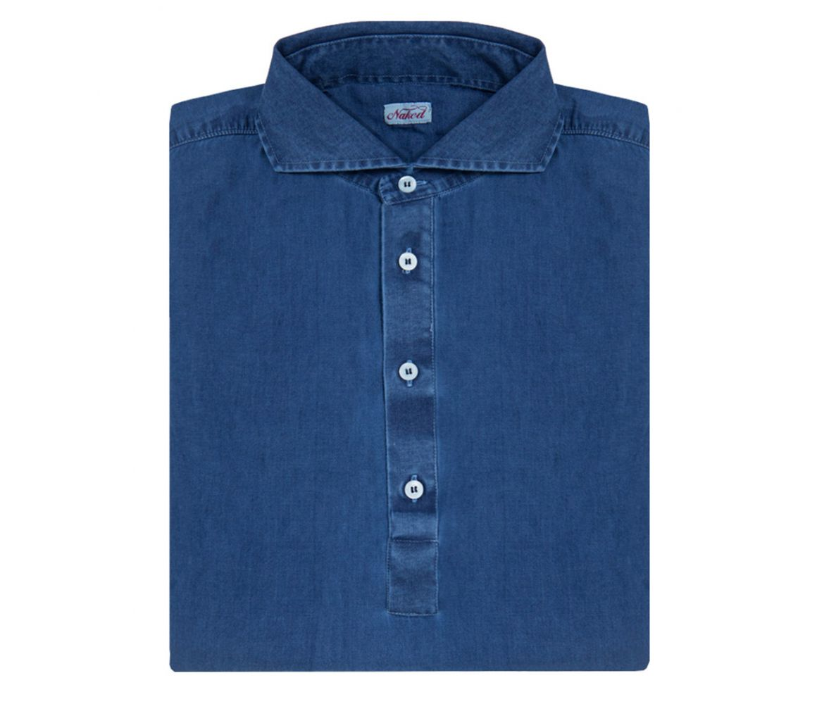 Royal Blue Long Sleeve Stone Washed Denim Polo Shirt | The Rake