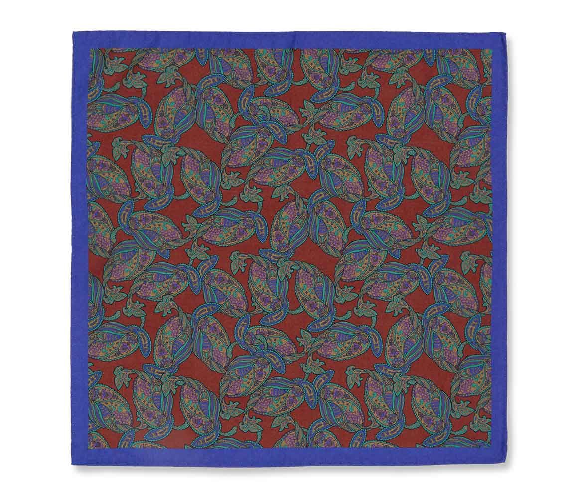 Blue Paisley Print Reversible Cocoon Silk Pocket Square New & Lingwood DL11oVv
