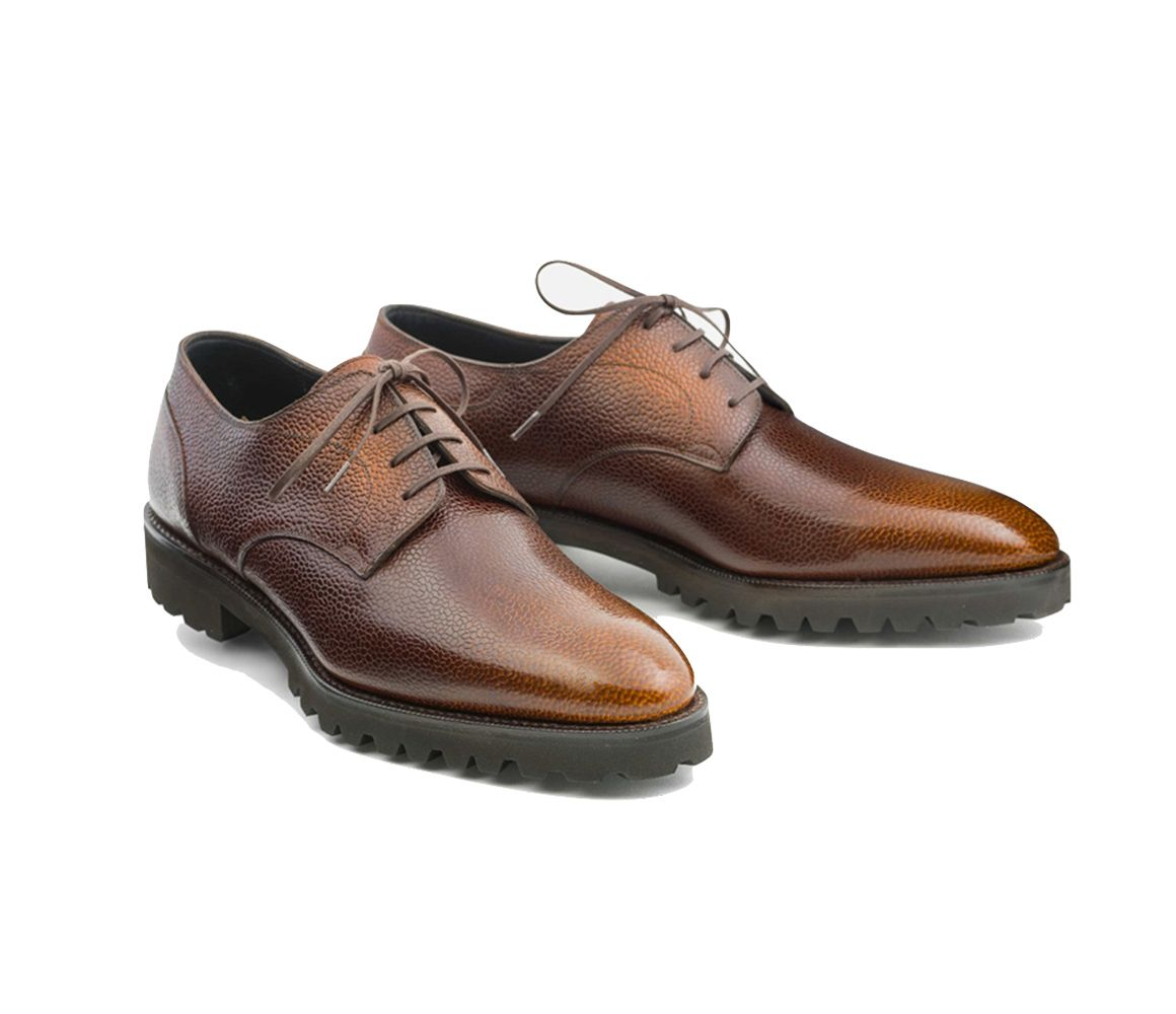 Brown Patinated Pebble Grain Leather Derby Shoe Norman Vilalta Zzyca0fKPG