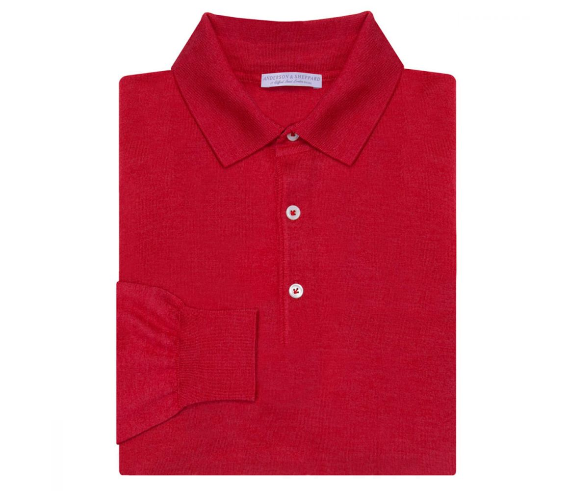 Red Long Sleeve Cashmere And Silk Polo Shirt Anderson & Sheppard