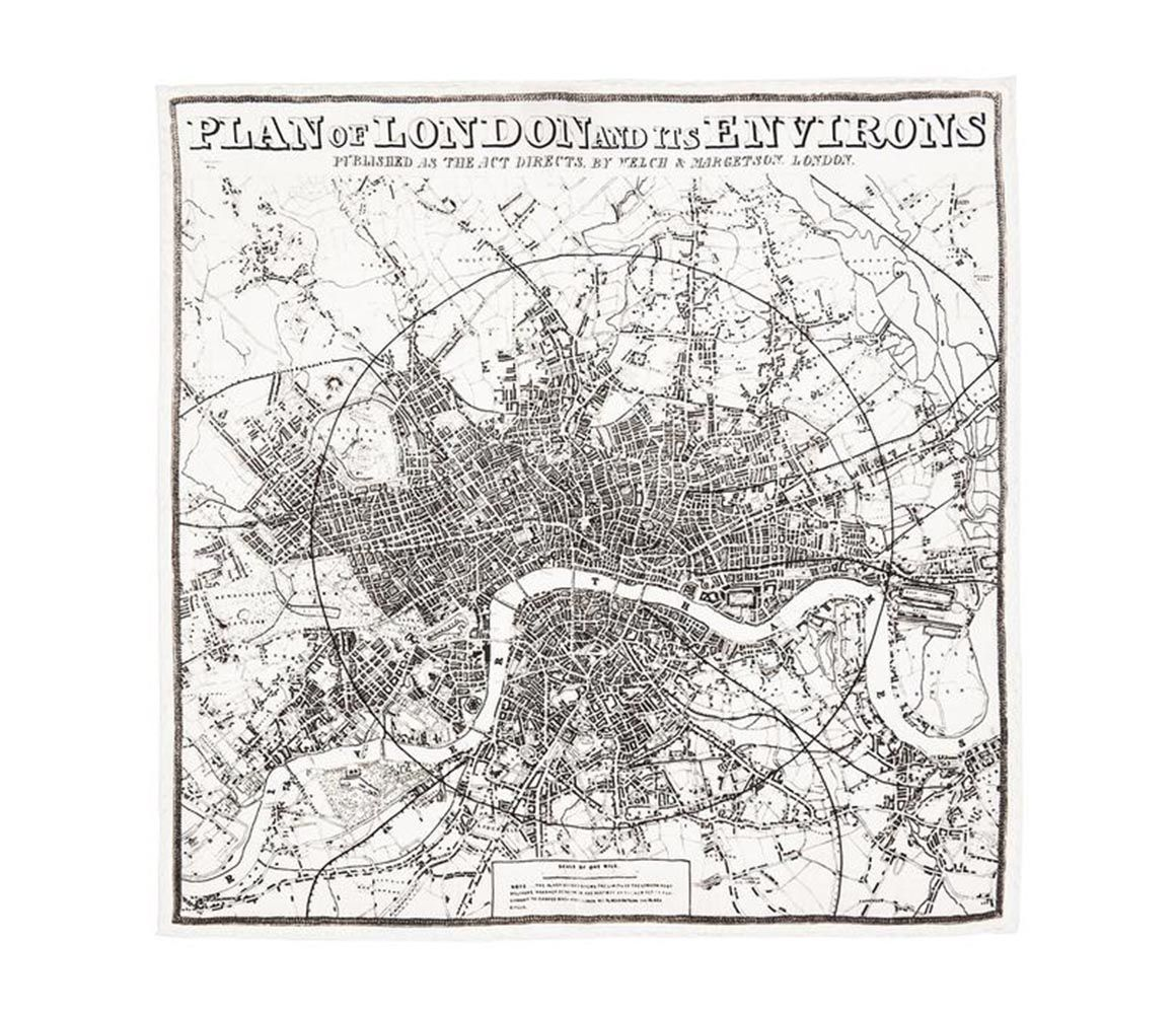 Plan Of London And Its Environs Silk Pocket Square Rampley & Co Oc0UFeNxxF