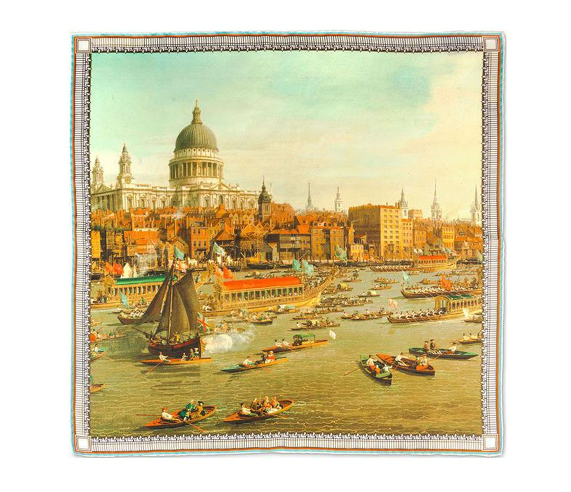 The River Thames on Lord Mayors Day Silk Pocket Square Rampley & Co 64mwX