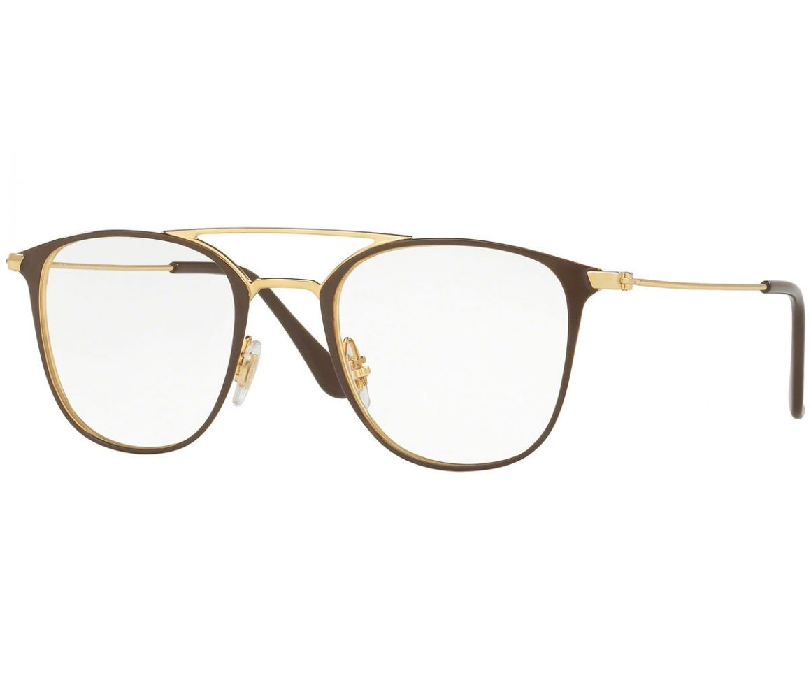 Brown and Gold Frames with Clear Lenses Eyewear RX6377 2905 | The Rake