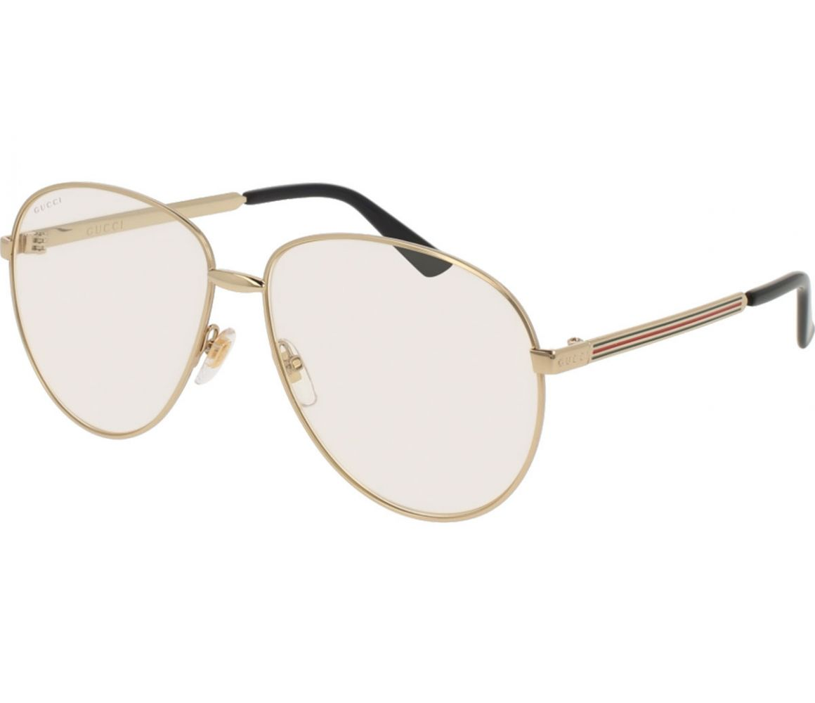 Gold Aviator Frames with Clear Lenses Eyewear GG0138S 003 | The Rake