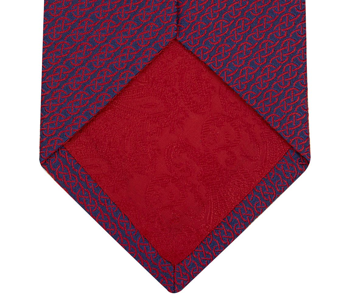 Navy and Red Linked Motif Jacquard Weave Silk Tie Turnbull & Asser