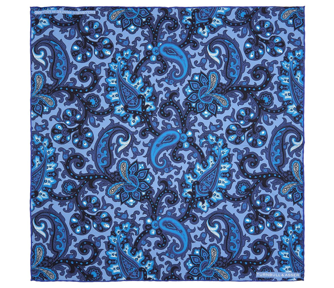Blue Morris Paisley Print Silk Pocket Square Turnbull & Asser
