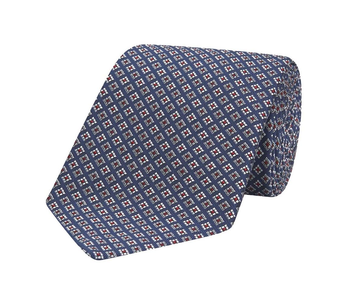 Navy and Red Square Pattern Jacquard Weave Silk Tie Turnbull & Asser JyOAOb