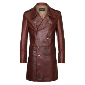 531873e129e Cromford Leather Company Brown Eastwood Double-Breasted Leather Coat ...
