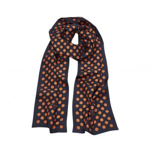 82011a293cce1 Avrone. Navy Silk Scarf with Orange Polka Dots