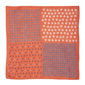 ab61348c664d9 Calabrese 1924. Red Dot-Daisy-Paisley Print Linen Pocket Square