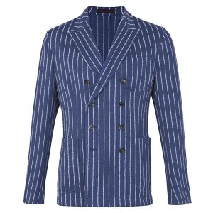 7bd3134d93 Blue and White Stripe Cotton Double-Breasted Jacket