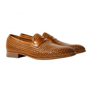 76640d5f0 Scarosso. Andrea Cognac Leather Woven Penny Loafers