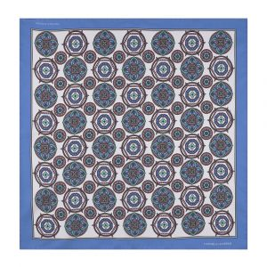 f9c43f638a302 Turnbull & Asser. Sky Blue and White Silk Mixed Medallion Pocket Square