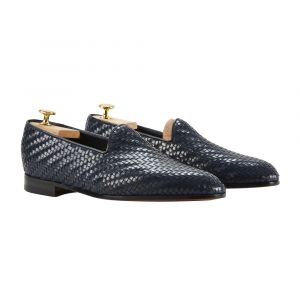217693311a0d9 Barbanera. Blue Woven Leather Rimbaud Loafers