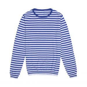 1240c68adcbe4d Anderson & Sheppard Blue and White Stripe Cotton Crew Neck T-Shirt | The  Rake