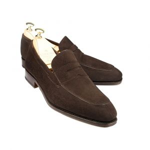 d40ac91380d78 Brown Suede Norwegian Split Toe Penny Loafers