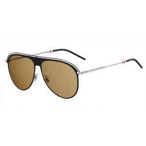 55935a7589036 Dior Homme. Black and Silver Pilot Double Ridge Frame with Brown Lenses  Sunglasses ...