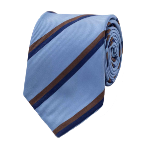 dad6d46894a6 Edward Sexton. Sky Blue, Brown and Navy Twin Stripe Silk Tie