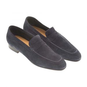 eca642003 Blue Suede Aria Milano Penny Loafers