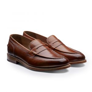 413ff4e4b88 Grenson. Tan Maxwell Hand-Painted Leather Penny Loafers