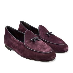 30d7fc56672cd Rubinacci. Wine Marphy Suede Loafers