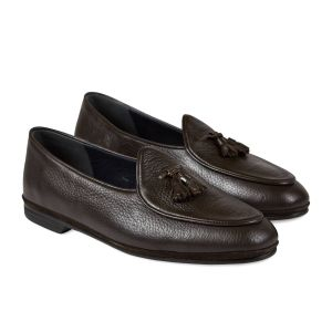 556d314ae1dd9 Dark Brown Marphy Deerskin Leather Tassel Loafers
