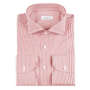 ed1889ef709392 Marol. White and Red Bengal Stripe Cotton Shirt