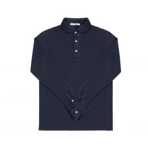 56eff8cd4a5 Naked Clothing. Navy Long Sleeve Pique Cotton Polo Shirt