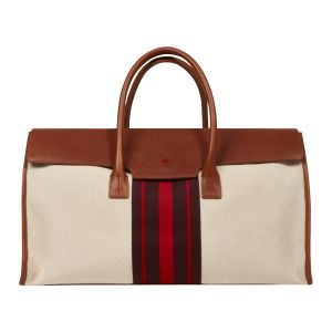 949adcf2f836 Cream Canvas and Tan Leather Weekend Travel Bag