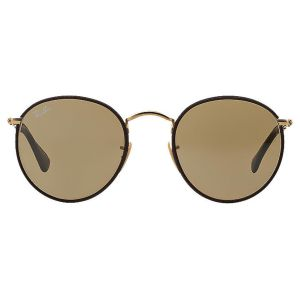 d2bdc52bd3 Ray-Ban Round Craft RB3475Q 112 53 Brown Leather and Gold Frame with Brown  Lenses Sunglasses